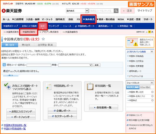 楽天証券 中国株